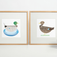 Mr and Mrs Duck, pair of limited edition prints