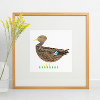 Mrs Duck, limited edition riso print, bird art