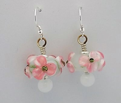 Sterling silver and opal white lampwork floral earrings