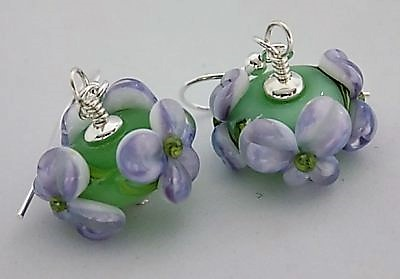 Sterling silver and apple lampwork floral earrings