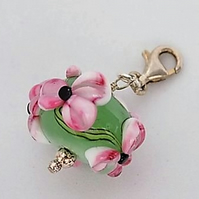 Apple floral charm on sterling silver trigger clasp