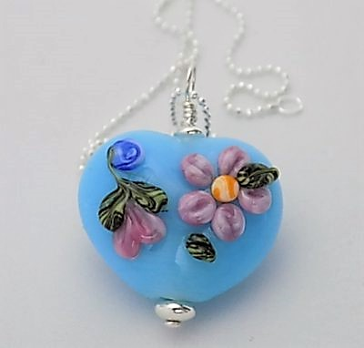 Sterling silver and sky blue michaelmas daisy heart pendant medium