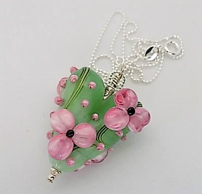 Handmade lampwork slim floral heart pendant on sterling silver chain