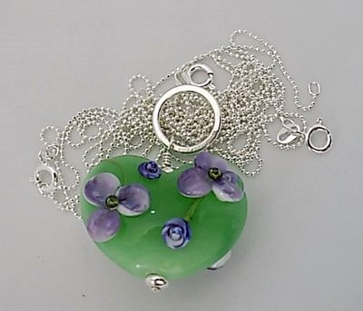 Handmade lampwork large floral apple green heart on sterling silver ball chain