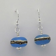 Sterling silver and blue elegance round earring pair