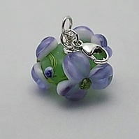 Apple and lavender floral charm on sterling silver trigger clasp