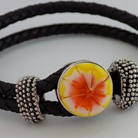 Handmade lampwork 2 strand leather bracelet with interchangeable snap