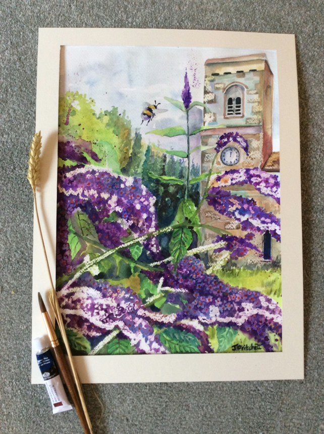 Original watercolour painting of Purple buddleia with church in background.