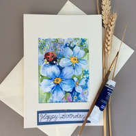 Unique card made using Original watercolour painting of ladybug on forget-me-not