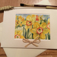 unique Handmade Easter card using original watercolour painting of daffodils