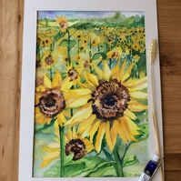 Watercolour painting of yellow sunflowers