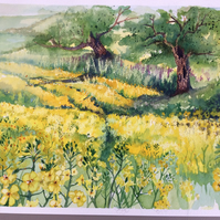 Fields of rapeseed watercolour painting