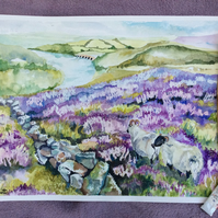 Watercolour painting of hills covered with purple heather and two sheep.