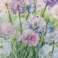 Original watercolour painting of butterflies on flowers