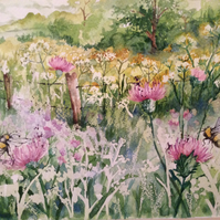 Original watercolour painting of wildflower meadow with bumblebees