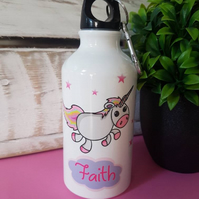 Childs Unicorn Water Bottle Great For School! Personalised Name