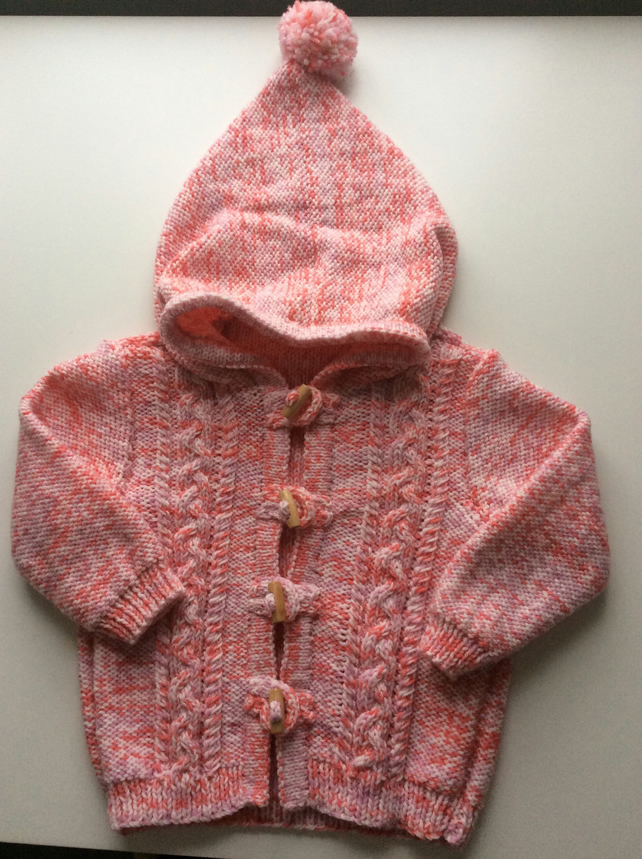 Baby's hand knitted Hooded cardigan 6-12 months