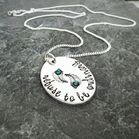 Handstamped peacock feather pendant, Refuse to be ordinary,