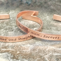 Handstamped copper bangle, personalised bracelet, Mother's Day gift