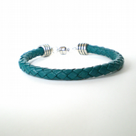 Teal braided leather cuff bracelet