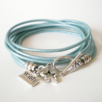 blue wish upon a star leather bracelet