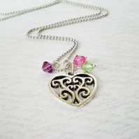 Heart family birthstone necklace