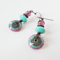 Green & Purple Handmade Drop Earrings