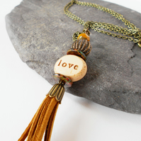 Mustard Brown Love More Tassel Necklace