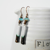 Aqua Porcelain Handmade Drop Earrings