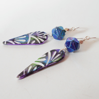 Blue Patterned Drop Earrings