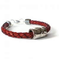 red braided leather cuff bracelet