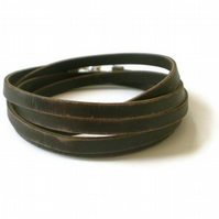 distressed brown leather wrap bracelet