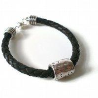 brown braided leather cuff bracelet