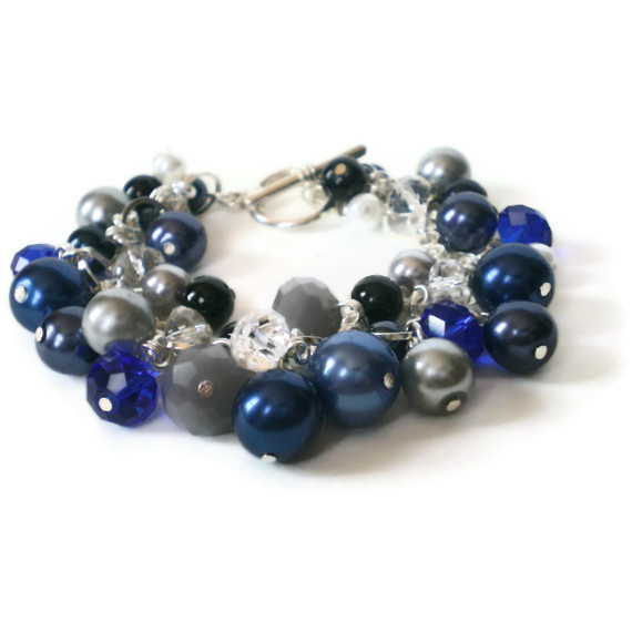 blue pearl and crystal cluster bracelet