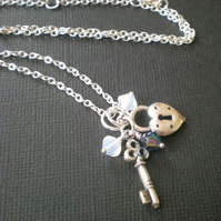 key to my heart silver necklace