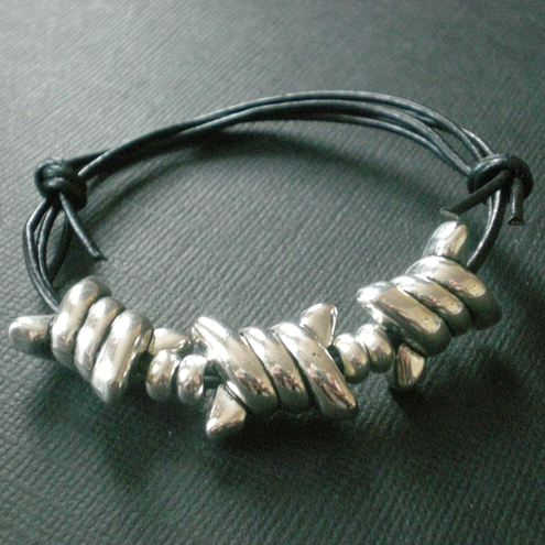 Barbed Wire Leather Cuff Bracelet