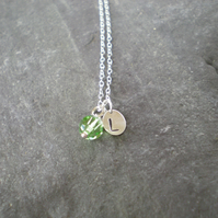 hand stamped initial birthstone necklace