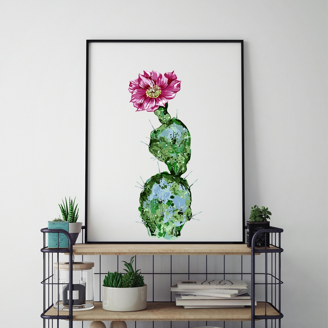 Watercolour Cactus - Canvas Print