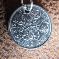 18 inch chain necklace with a sixpence minted 1967