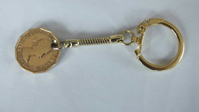 1964 Thuppence or three pence coin on a chain link keyring silver plated