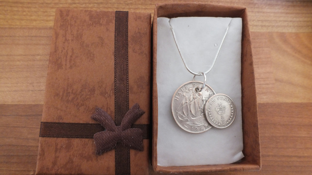 Necklace old 1967 large half penny and later 1977 small one  plated silver
