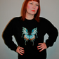 Handmade black sweatshirt with large butterfly embroidered applique design