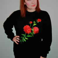 Handmade black sweatshirt with large rose embroidery applique design