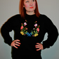 Handmade black sweatshirt with statement floral and bow embroidery applique