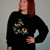 Handmade black sweatshirt with floral parrot embroidered applique design