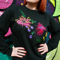 Handmade black sweatshirt with floral embroidered applique design