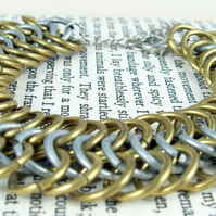 Enchanting Brass and Steel Chainmaille Bracelet with FREE Bracelet Box