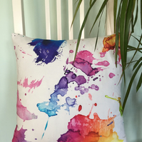 Cushion cover with colourful splash of paint