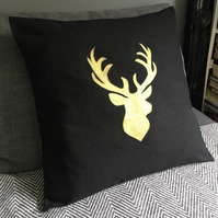 Gold hand painted deer head cushion cover