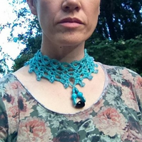 Jade Green Crochet Choker Necklace Decorated with Beads